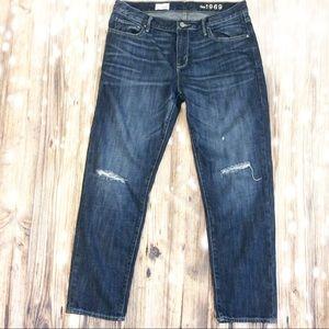 The Gap Distressed Sexy Boyfriend Jeans Dark Wash